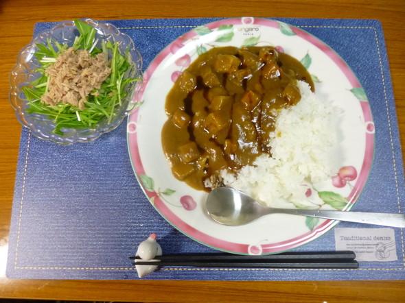 ソースONカレーライスの夕食(*^^)v