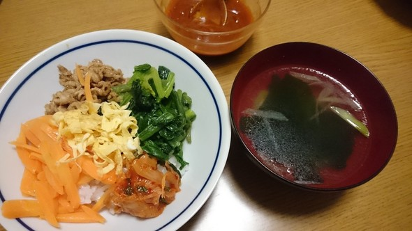 焼肉のたれで簡単ビビンバ×中華スープ♡