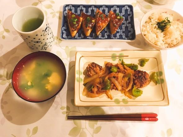 夕食*豚こまバーグの酢豚風