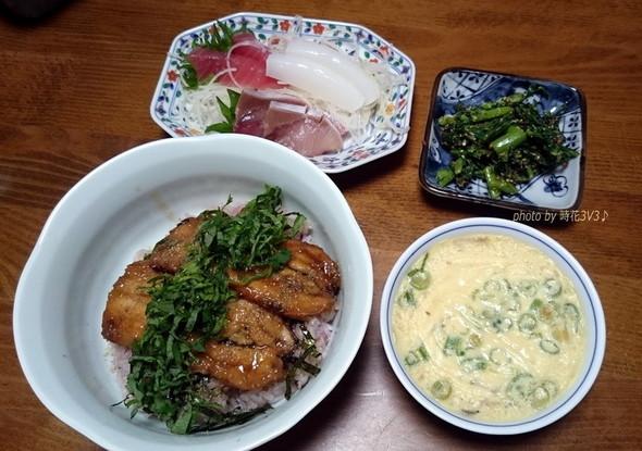 ◆イワシの蒲焼き丼で夕食◆