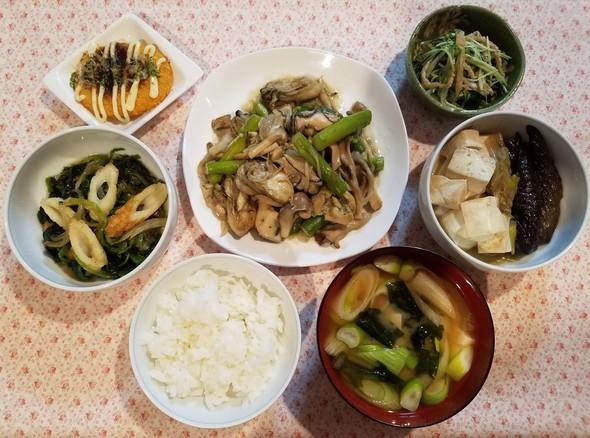 牡蠣バタきのこ焼き&竹輪と小松菜の炒め物