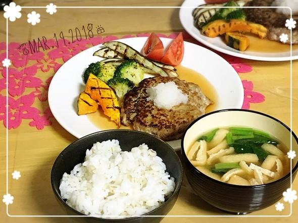 豆腐ハンバーグで夕飯٩(ˊᗜˋ*)و