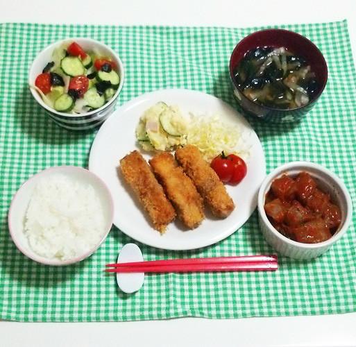 豚肉紫蘇海苔チーズ揚げ巻きで晩ごはん