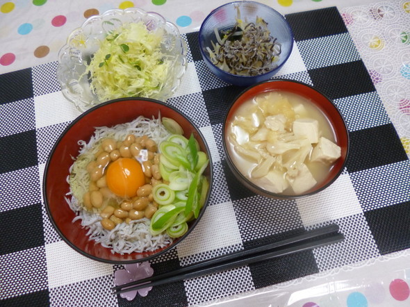 納豆しらす丼の美味しい朝食(*^^)v