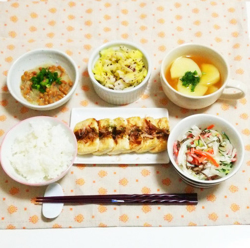 お好み焼き風豆腐ステーキで晩ごはん