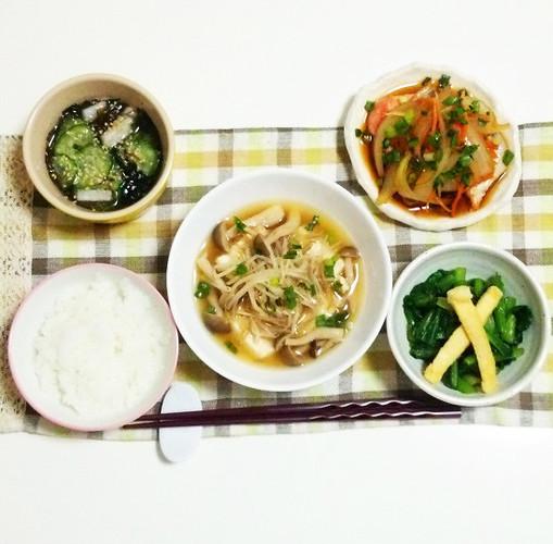 豆腐ともやしの煮びたしで晩ごはん