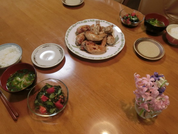 ローストチキンで 夕ご飯