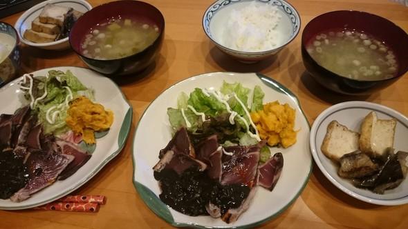 韓国風かつおのたたき×南瓜サラダ♡