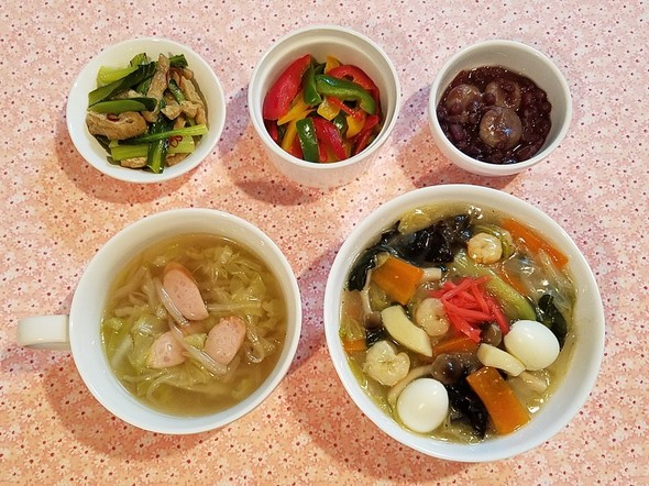 中華丼&へっちょこだんご&塩麹野菜スープ