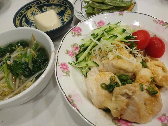 夕食  棒々鶏サラダ