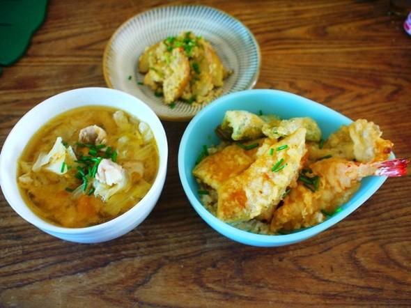 昼食~天丼と豚汁