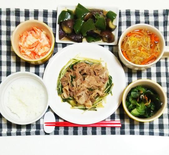 豚肉と水菜のポン酢炒めで晩ごはん