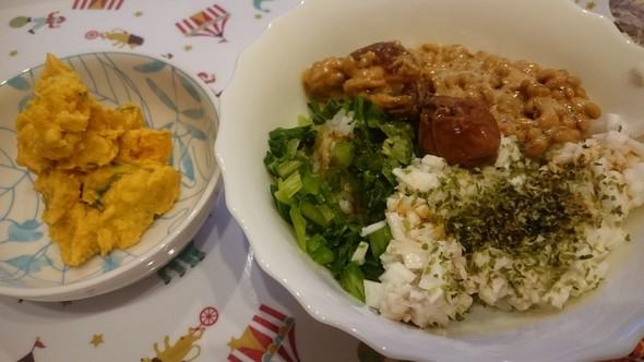 納豆とろろ×小松菜×奈良漬♡南瓜サラダ
