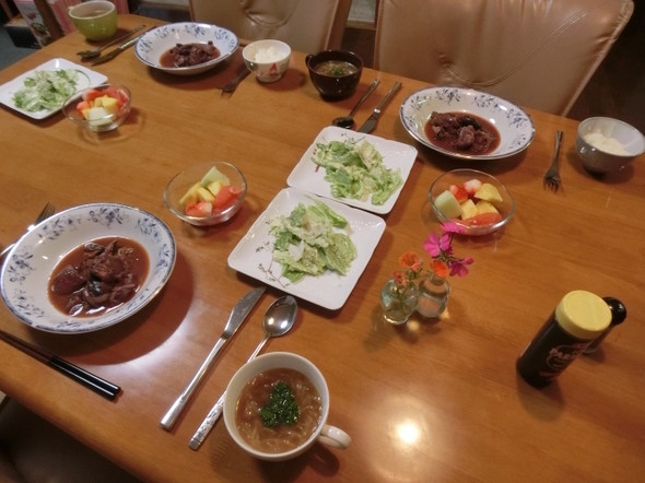鶏肉ワイン煮で 夕ご飯