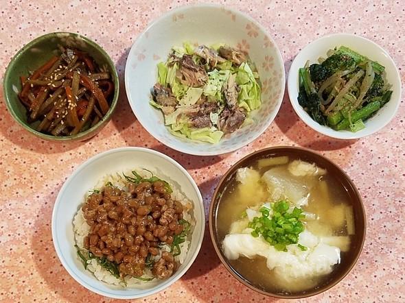 亜麻仁油 納豆&白いお味噌&鯖缶キャベツ