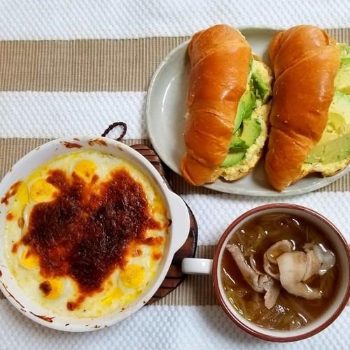 ハンバーググラタン スープ クロワッサン