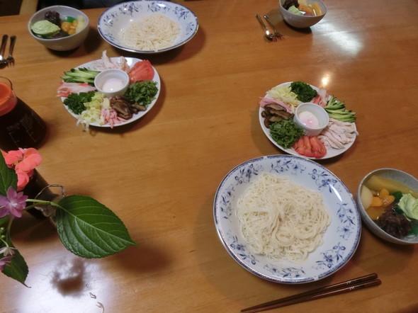 彩り素麺の 夕ご飯
