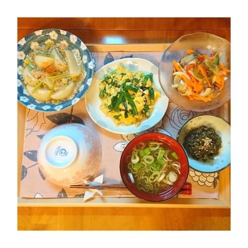 かぶ挽き肉と南蛮漬けご飯