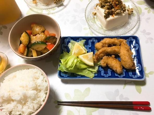 夕食*ささみの唐揚げ