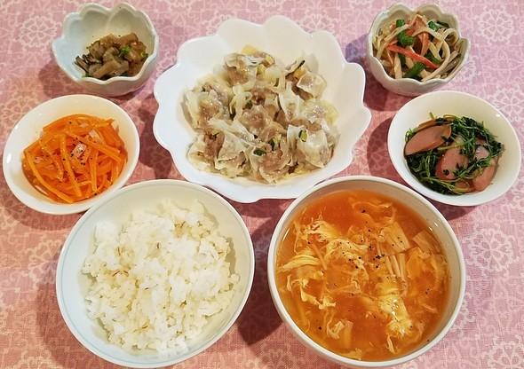 豚ひき肉とズッキーニの簡単焼売&中華和え