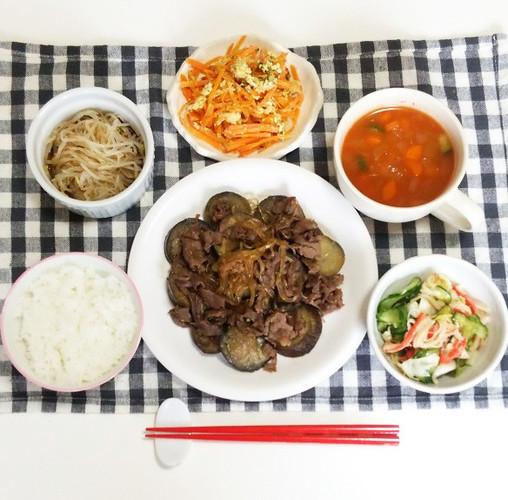 茄子と春雨の肉味噌炒めで晩ごはん