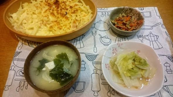 ポテトはこってり白菜さっぱりの旦那の夕食