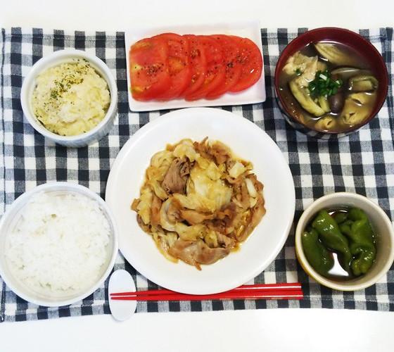 キャベツと豚肉の黒酢炒めで晩ごはん