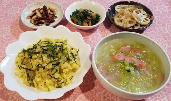 蕗の煮物リメイク炒飯&れんこん梅干し鰹煮