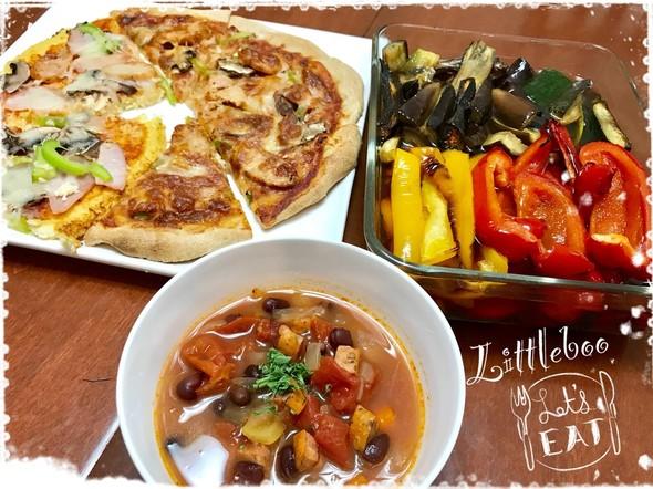 カリフラワーのピザ生地で低糖質の夕飯