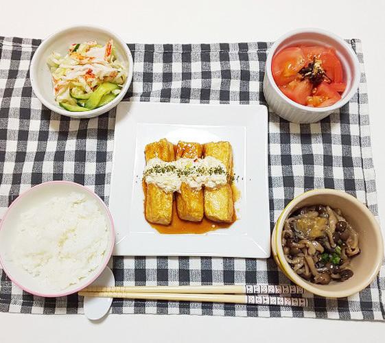 豆腐でチキン南蛮風の晩ごはん