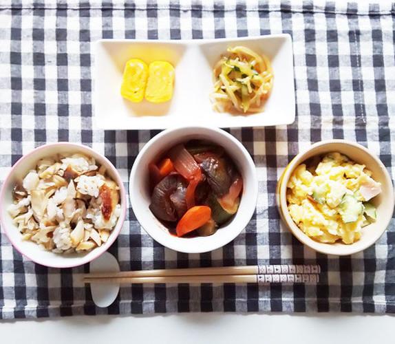 塩サバと昆布の混ぜご飯で晩ごはん