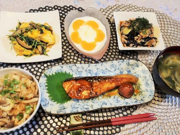 ポン酢の炊き込みご飯で和夕食