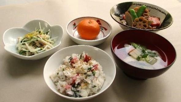 梅しそご飯と筑前煮定食