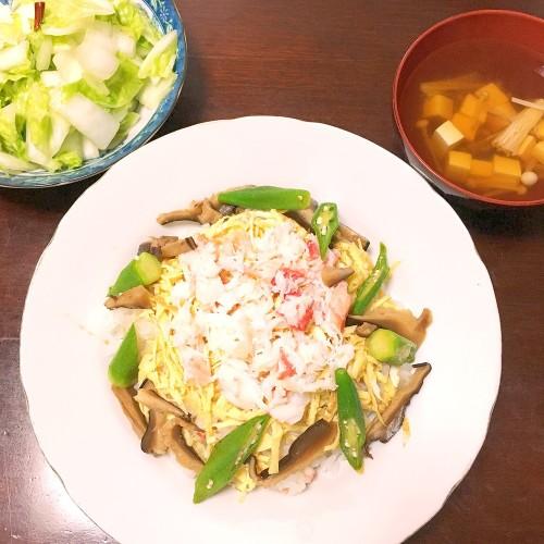 カニちらし寿司の夕ごはん☆