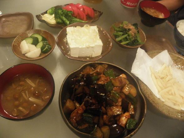 ナスと豚の辛味噌炒めの夕飯(9/24)