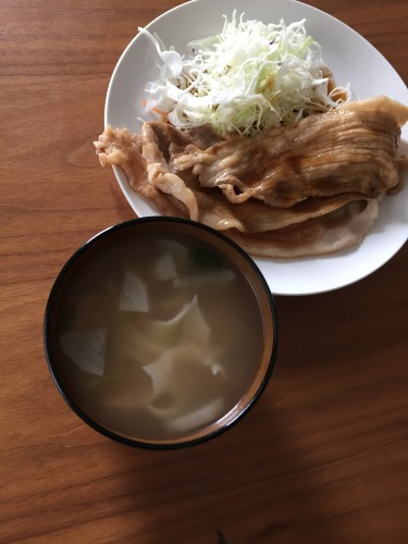 豚の生姜焼き 大根味噌汁