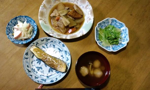 根菜と丸天の煮物と茄子の田楽