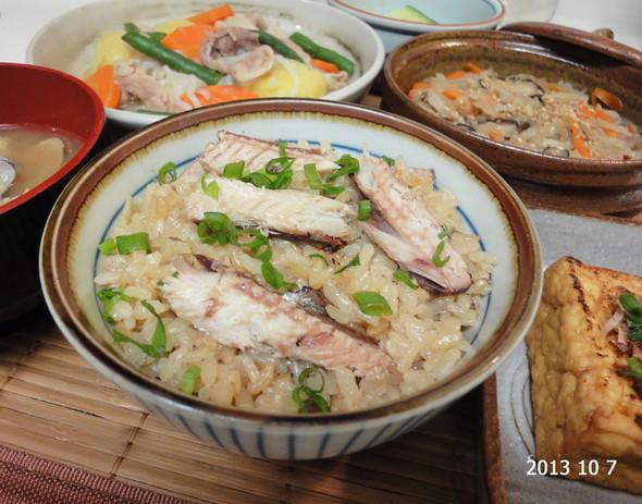 *秋刀魚の炊き込みご飯×塩肉じゃが*