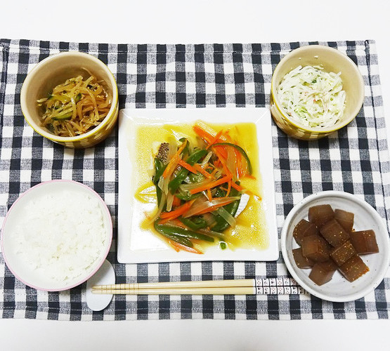 白身魚の野菜あんかけで晩ごはん