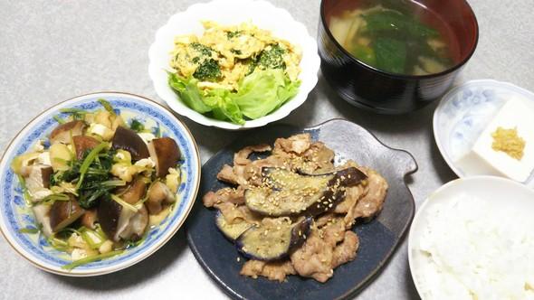 豚肉となすの胡麻味噌炒めの晩ご飯