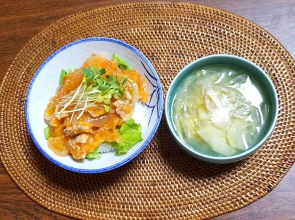 豚バラ肉コチュジャンめし 白菜のスープ