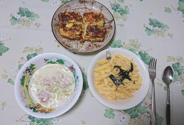 本日の晩ご飯~白菜とベーコンのミルク煮