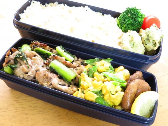 野沢菜と豚肉ソテー弁当