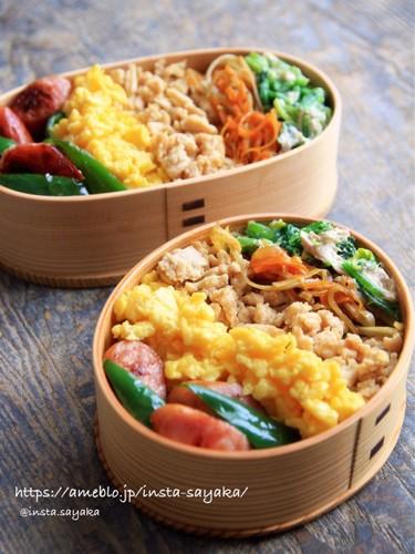 鮮やか!5色のそぼろご飯で栄養満点
