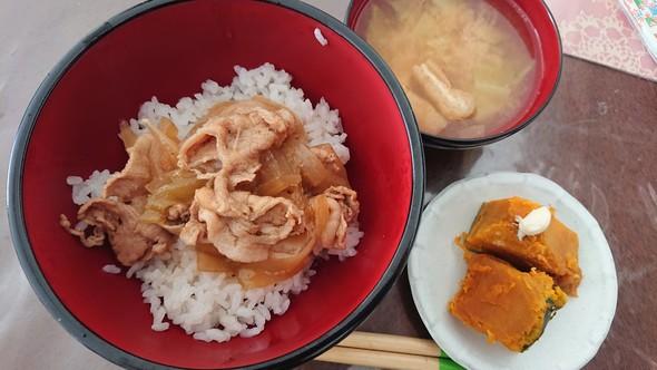 吉野家の豚丼×南瓜の煮物♡