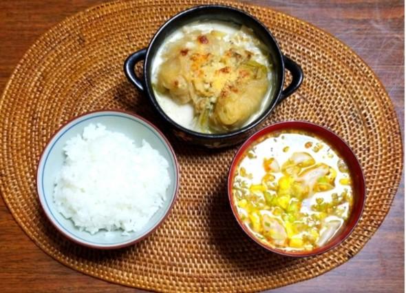 焼きロールキャベツ 坦々ワンタンスープ