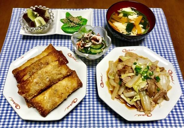 春巻き&豚と白菜のオイ酢ター炒め