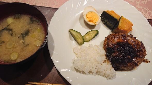 豆腐ハンバーグ×味卵×南瓜の煮物♡