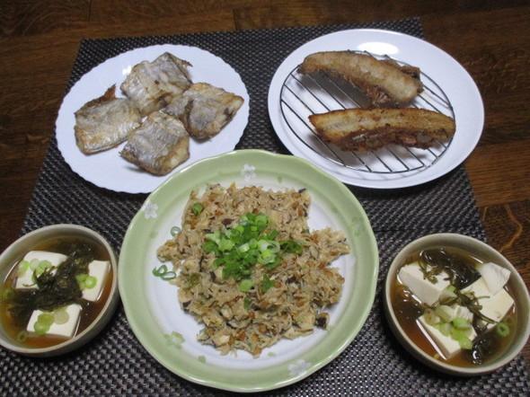 2019/4/30茸と白滝の納豆炒飯