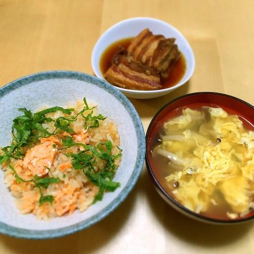 鮭の炊き込みご飯の夕ごはん☆